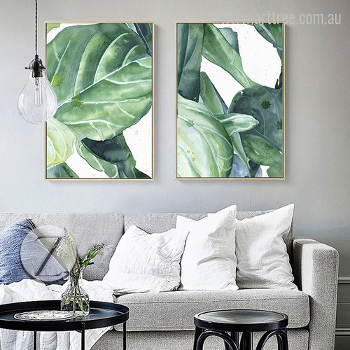 Green Palm Leaf Watercolor Canvas Prints