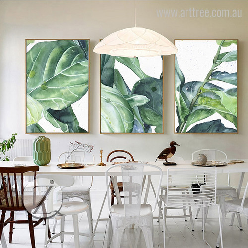 Green Palm Leaves Watercolor Canvas Prints