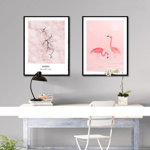 Marble Pink Flamingo Birds Digital Photo Canvas Prints