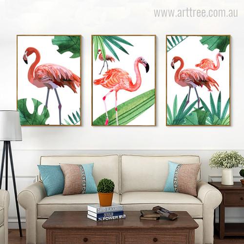 New Pink Flamingo Bird Digital Painting Print