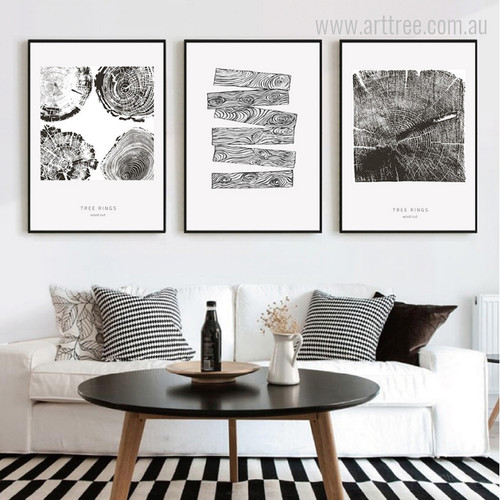 Abstract Tree Rings Wood Cut Black and White Print