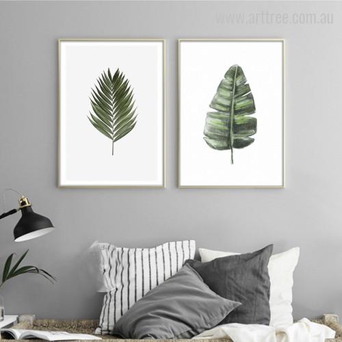 Areca Palm, Split Life Philodendron Leaves Room Decor Art