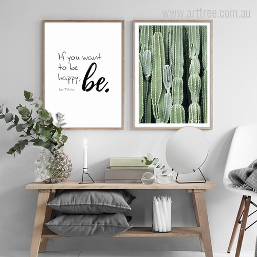 If You Want to be Happy Quote, Green Cactus Plant