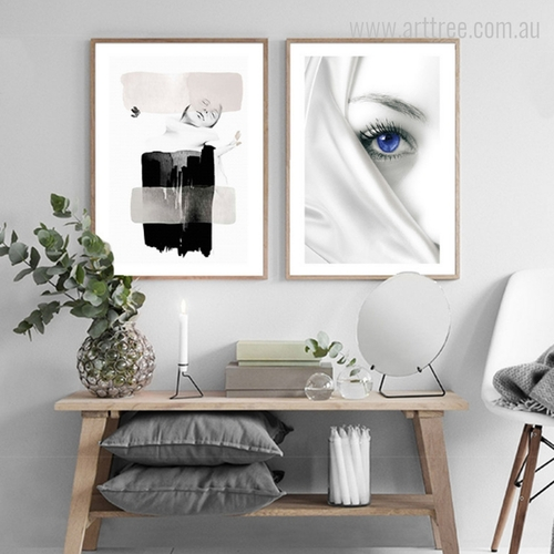 Fashion Girl Women Blue Eye Face Graphic Design