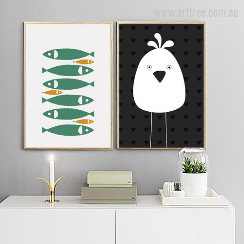 Green Fishes, Black & White Hen Bird Graphic Design