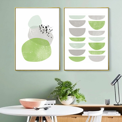 Minimalist Green Bowl & Boulders Canvas Prints