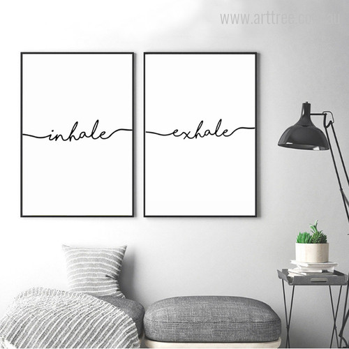 Black & White Minimalist Inhale Exhale Letters Artwork