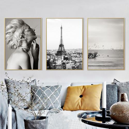 Girl Model, Eiffel Tower in Paris, Flying Birds Seascape Prints
