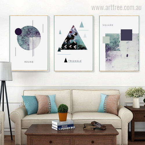 Abstract Geometric Shapes Round, Triangle & Square Design