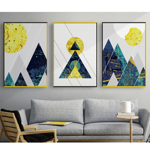 Abstract Geometric Line Mountain Round Sun Figures