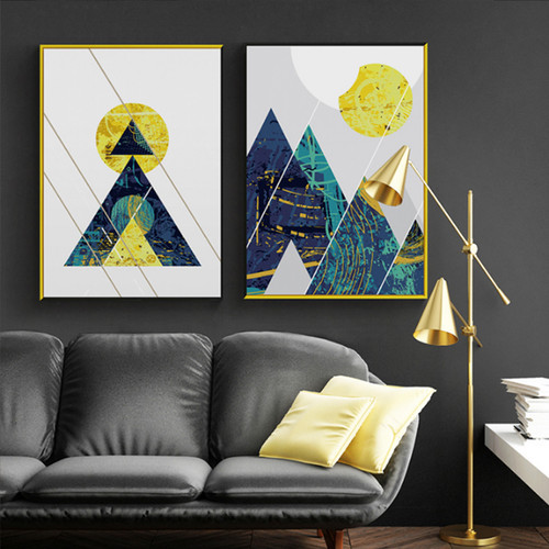 Multicolor Geometry Line Mountains Sun Digital Canvas Prints