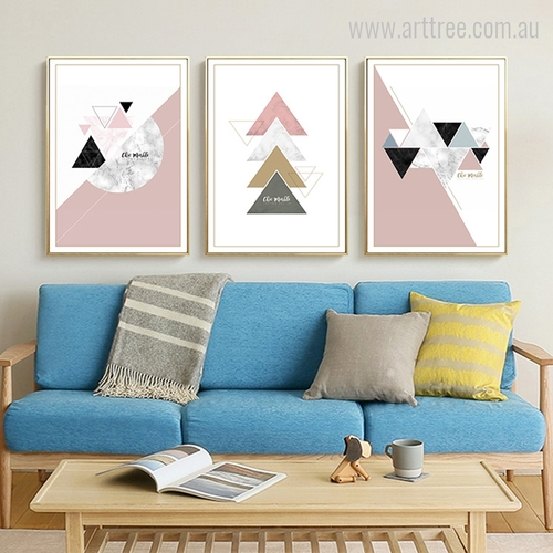 Geometric Colorful Triangles, Semicircle Shape Design