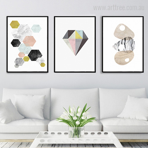 Geometric Hexagons, Diamond, Conch Shell Shapes Minimal Design