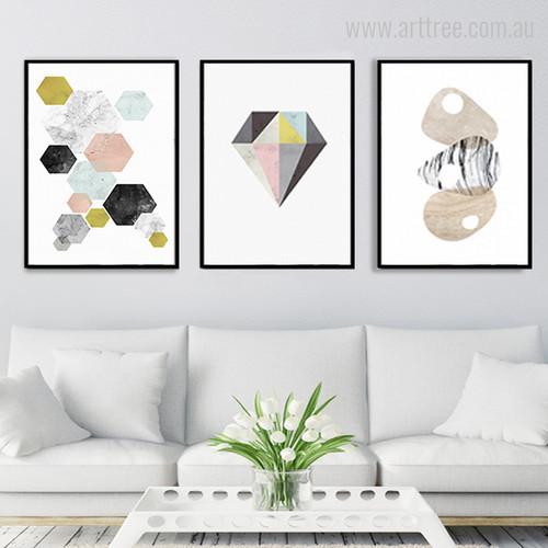 Geometric Hexagons, Diamond, Conch Shell Shapes Minimal Design