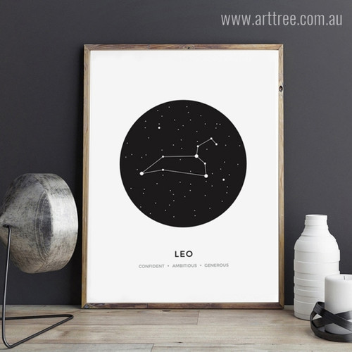 Leo Zodiacal Constellation Confident, Ambitious, Generous Print