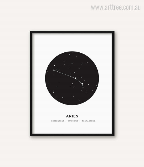 Aries Zodiacal Constellation Independent Optimistic Courageous Print