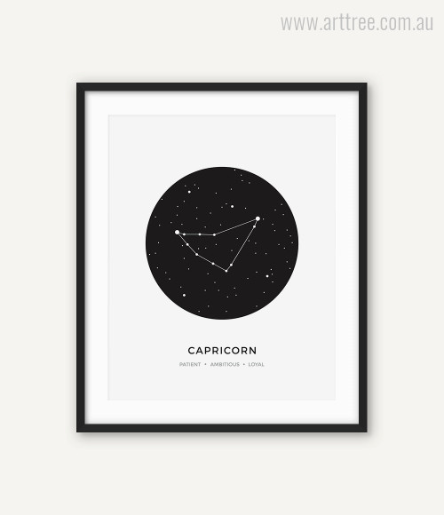 Capricorn Zodiacal Constellation Patient, Ambitious, Loyal Print