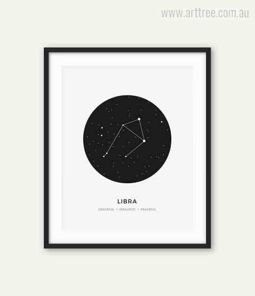 Libra Zodiacal Constellation Graceful, Idealistic, Peaceful Print