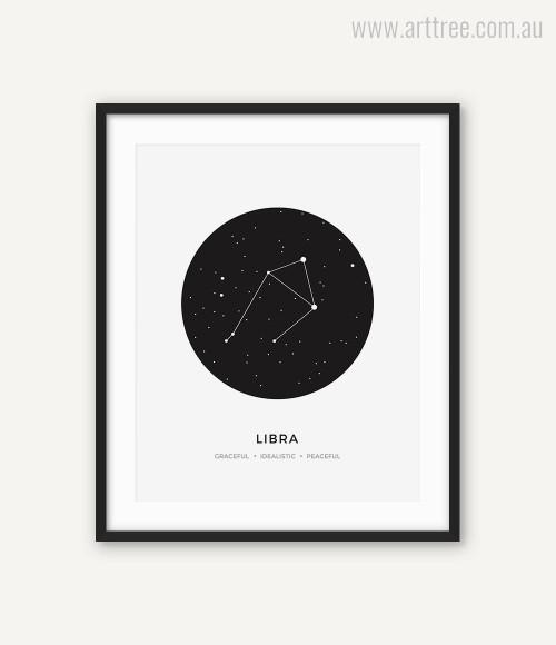Libra Zodiacal Constellation Graceful, Idealistic, Peaceful Print