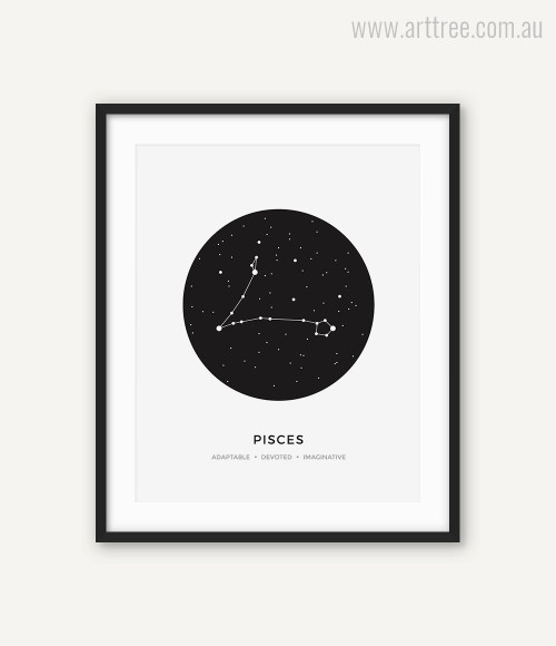 Pisces Zodiacal Constellation Adaptable, Devoted, Imaginative Print