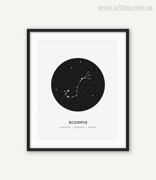 Scorpio Zodiacal Constellation Passionate, Observant, Dynamic Print