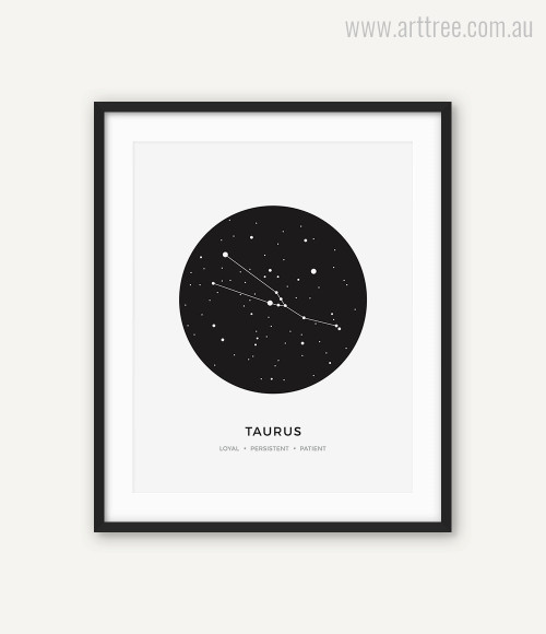 Taurus Zodiacal Constellation Loyal, Persistent, Patient Print
