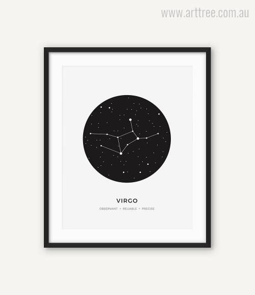 Virgo Zodiacal Constellation Reliable, Precise, Observant Print