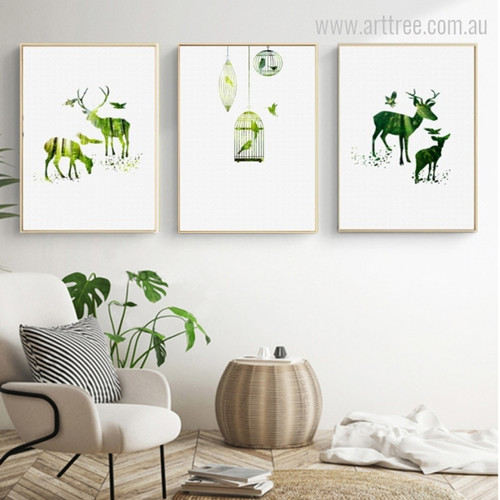 Green Deer Animal and Parrots in Cage Photo Wall Art