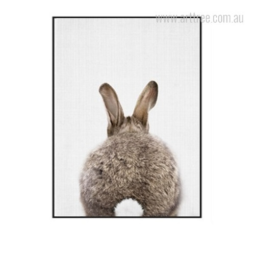 Kawaii Brown Rabbit Animal Back Cute Wall Decor Print