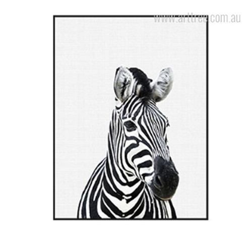 Kawaii Black and White Zebra Animal Cute Canvas Print
