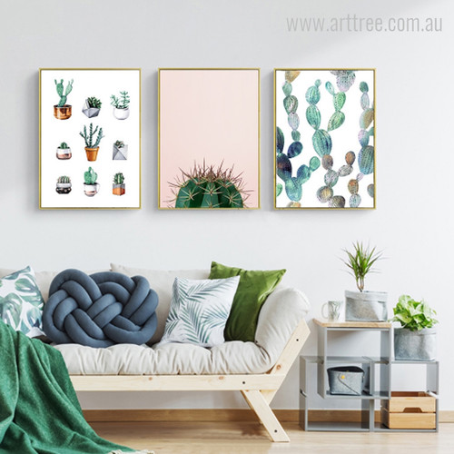 Abstract Green Cactus Plants in Pot Canvas Prints