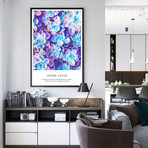 Purple Blue Stone Lotus Flowers Wall Art Print