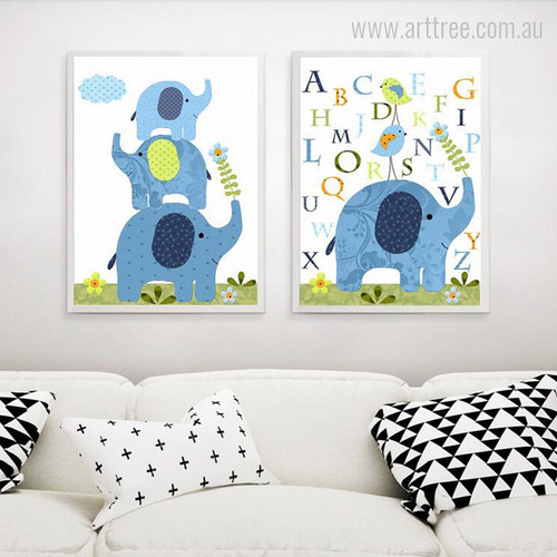 Cartoon Elephant Family Animal, Birds, Alphabets Wall Decor Prints