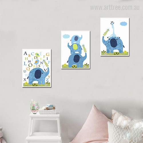 Cartoon Elephant Family, Giraffe Animal, Birds Alphabets Canvas Prints