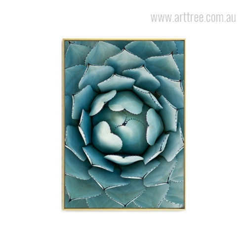 Turquoise Color Abstract Lotus Wall Art Print