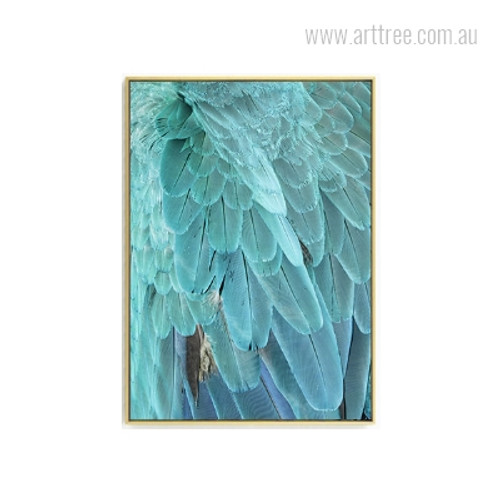 Turquoise Color Abstract Bird Feathers Wall Art