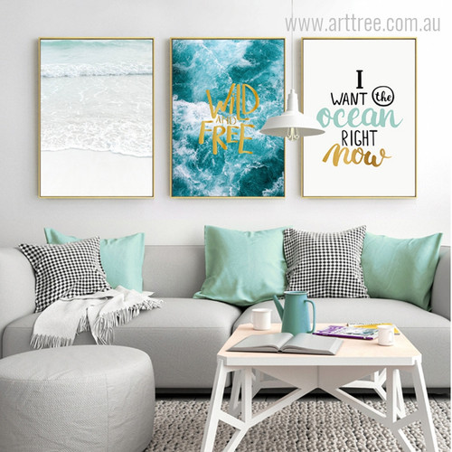 Beach Water Waves and Ocean Quotes Wall Decor Prints