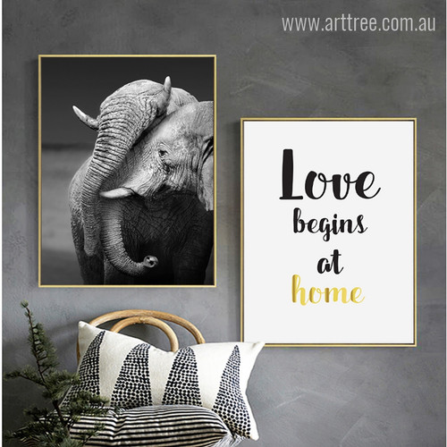 Wild Elephant Animal, Love Home Quote Photo Canvas Prints