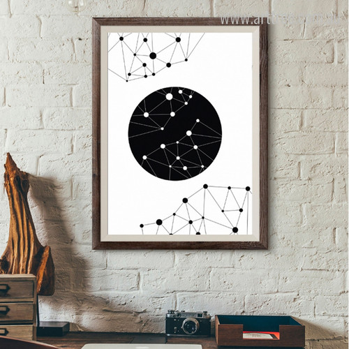 Geometric Triangles Connected with Dots on Black Circle Wall Art