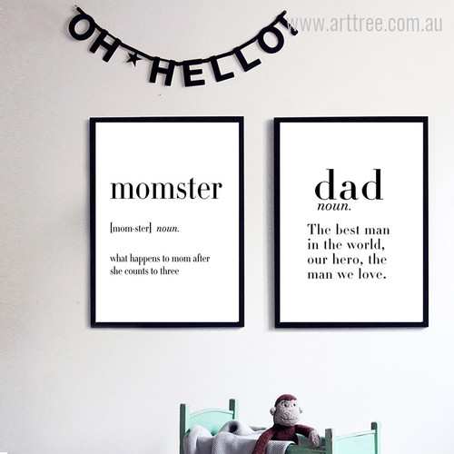 Momster Dad Definition Quotes Digital Prints