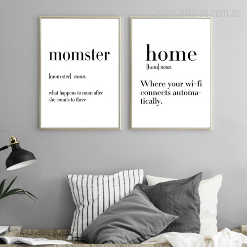 Momster, Home Definition Quotes Black and White Wall Art