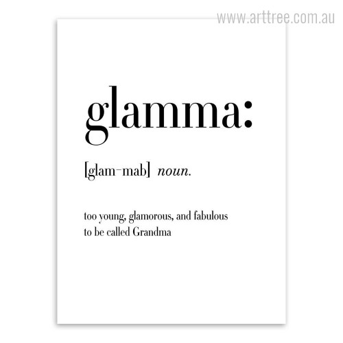 Glamma Definition Family Quote Wall Print