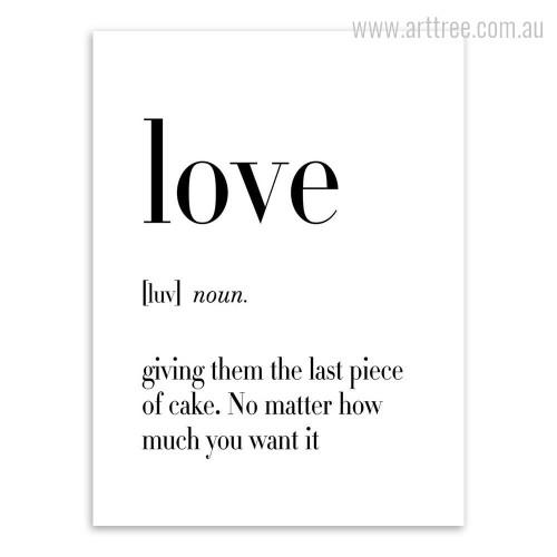 Love Definition Quote Black and White Home Decor Print
