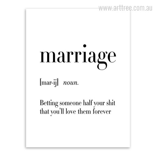 Marriage Definition Family Quote Art Print