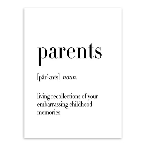Parents Definition Family Quote Black and White Canvas Print