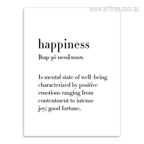 Happiness Definition Quote Black and White Canvas Print