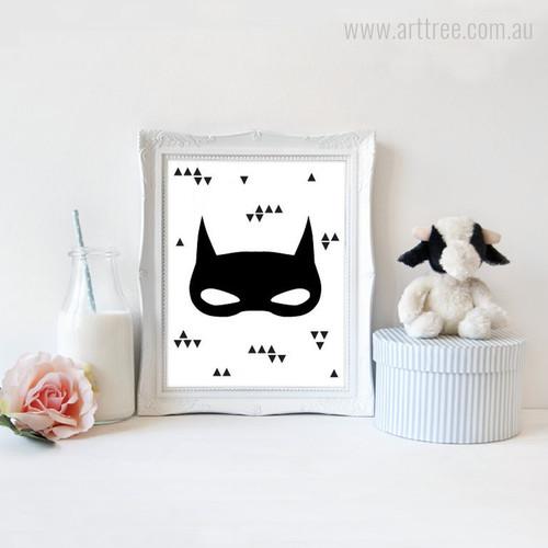 Super Hero Batman Mask Black Triangles Print on Canvas
