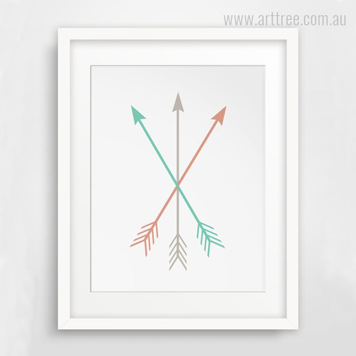 Minimal Brown Green Arrows Digital Print
