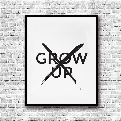 Don't Grow Up Quote Canvas Wall Hanging Print