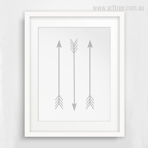 Three Grey Arrows Wall Decor Print